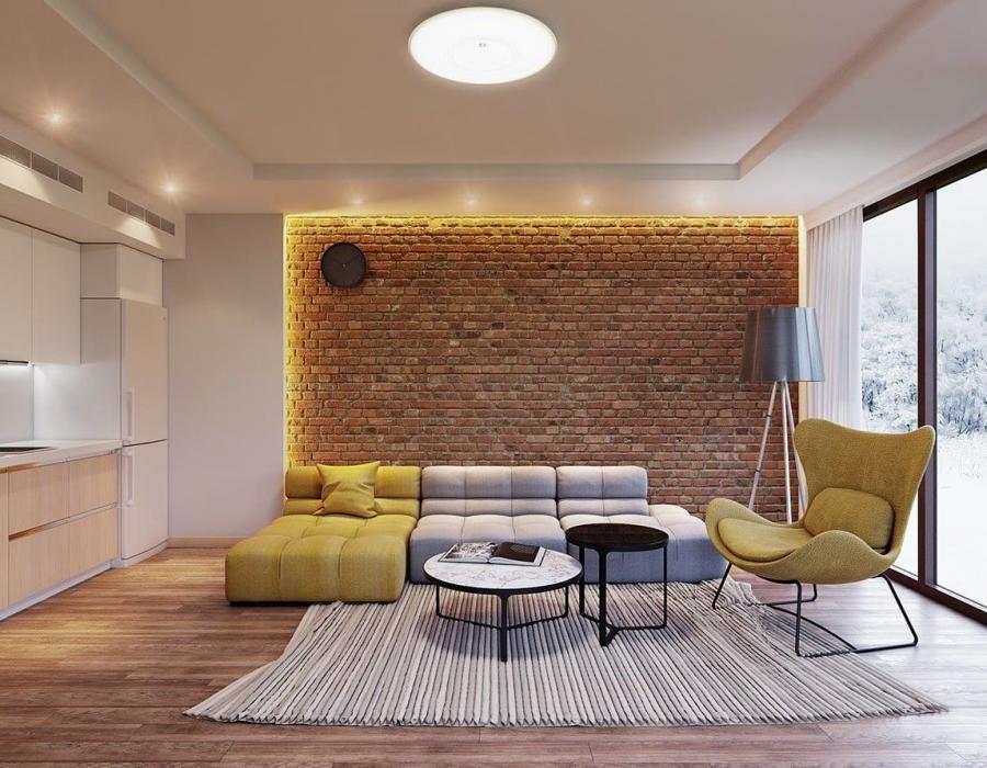 Кирпич в дизайне интерьера